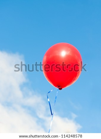 red balloon against blue sky
