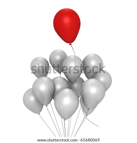 Red balloon flying away - a 3d image - stock photo