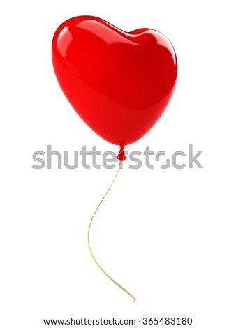 Red balloon heart with gold ribbon. Isolated on white background