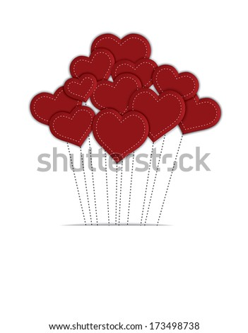 Red balloon hearts with stitched strings, on isolated white background