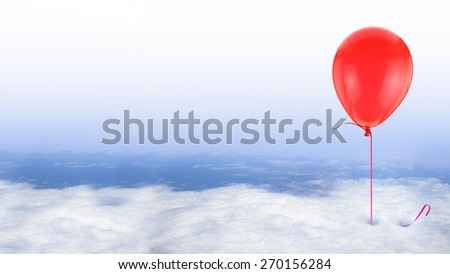 Red balloon on blue sky with white clouds, conceptual - stock photo
