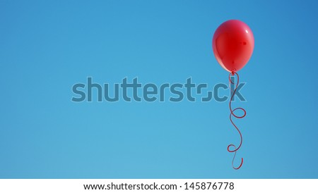 Red Balloon with Clipping Path  - stock photo