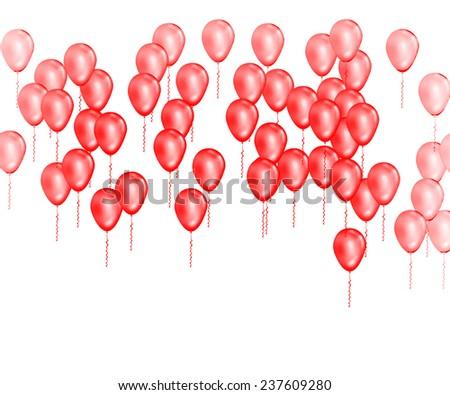 Red balloons celebration background - stock photo