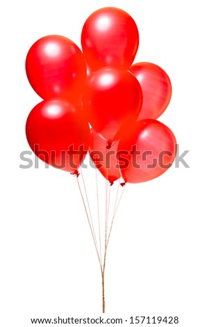 Red balloons isolated on white - stock photo