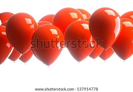 red balloons on a white background - stock photo