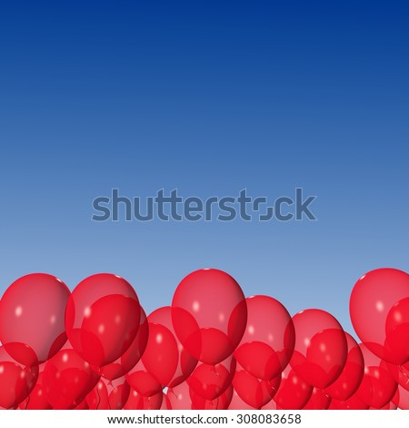 Red balloons on the blue sky background. - stock photo