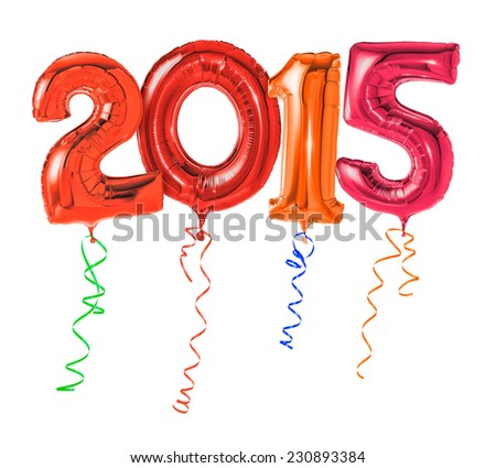 Red balloons with ribbon - Number 2015 - stock photo
