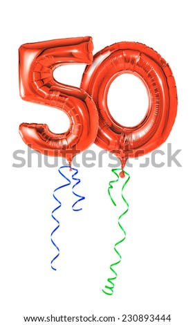 Red balloons with ribbon - Number 50 - stock photo