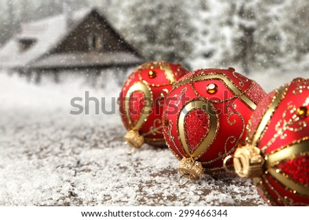 red balls and xmas time  - stock photo