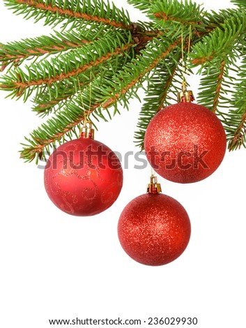 red balls on the christmas tree over white - stock photo