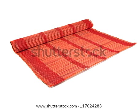 red bamboo mat for food on a white background