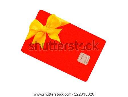 Red Bank card with golden bow - stock photo