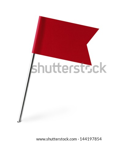 Red Banner Flag Isolated  on White Background. - stock photo