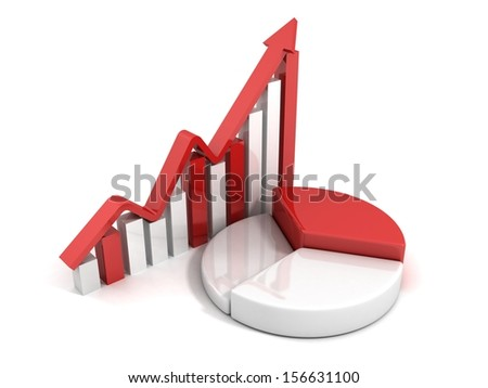 red bar and pie success business chart with growing arrow - stock photo