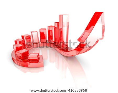 Red Bar Chart Business Growth With Rising Up Arrow. Sccess Concept 3d Render Illustration - stock photo