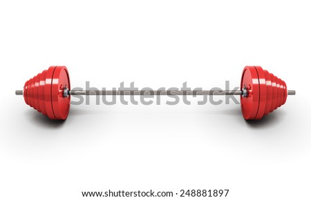 Red barbell isolated on white. 3d illustration