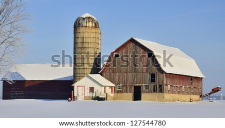 Red Barn and Silo at Dawn
