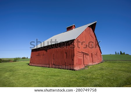 Red barn at arboretum in Moscow, Idaho. - stock photo