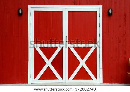 Red Barn Door - stock photo