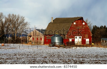Red barn in early winter in south central Idaho