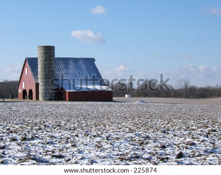 red barn in snow - stock photo