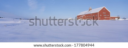 Red Barn in snow, Lyndonville, Vermont - stock photo