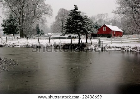 Red Barn in Winter - stock photo