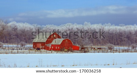 Red Barn with a frosted snowy background