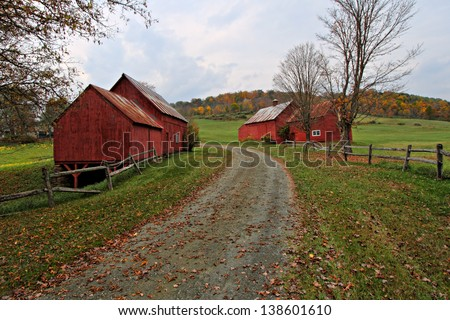 Red Barns of Vermont in Autumn  - stock photo
