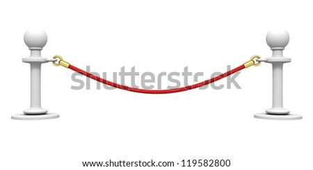 red barrier rope section on white background - stock photo