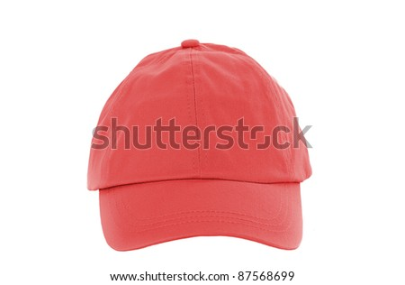 Red Baseball Cap isolated on white - stock photo