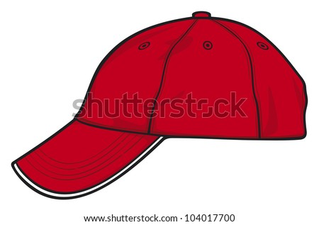 red baseball cap side view - stock photo