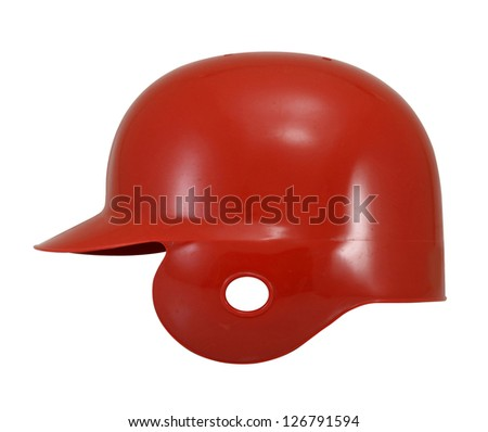 Red baseball helmet on white. - stock photo