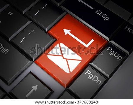 Red Batton send e-mail (done in 3d) - stock photo