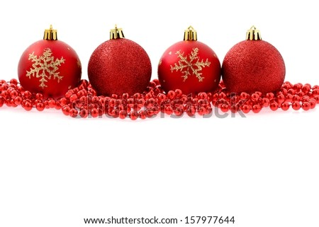 Red baubles Christmas background - stock photo