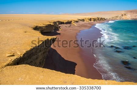 Red Beach in Paracas Natural Reserve, Peru - stock photo