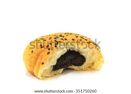 Red bean bread isolated on white background, red bean sauce bread