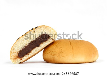Red Bean Filled Bun on white background