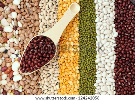 red bean in scoop with mix bean and pea for background uses