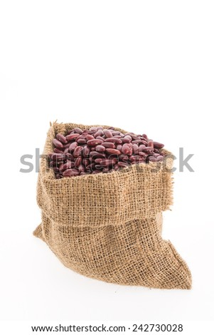Red beans bag isolated on white background - stock photo