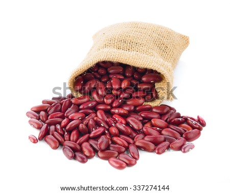 red beans in the sack isolated on white background - stock photo