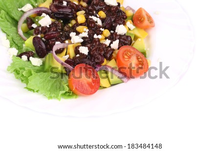 Red beans salad with feta cheese. Isolated on a white background.