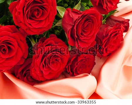 Red beautiful roses on a pink silk fabric