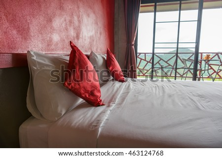 Red bedroom for couples
