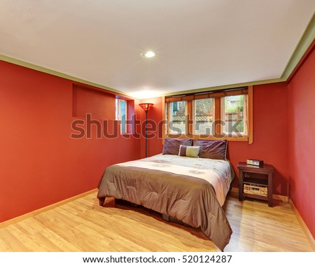Red Bedroom Interior Design In American Bungalow Northwest USA