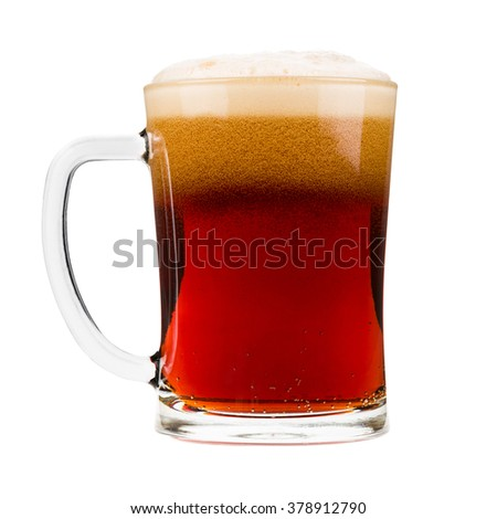 Red beer mug with bubbles, isolated on white