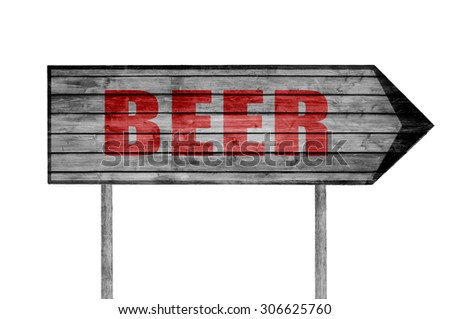Red Beer wooden sign isolated on white - stock photo