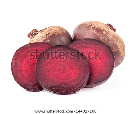 Red beets isolated on white background - stock photo