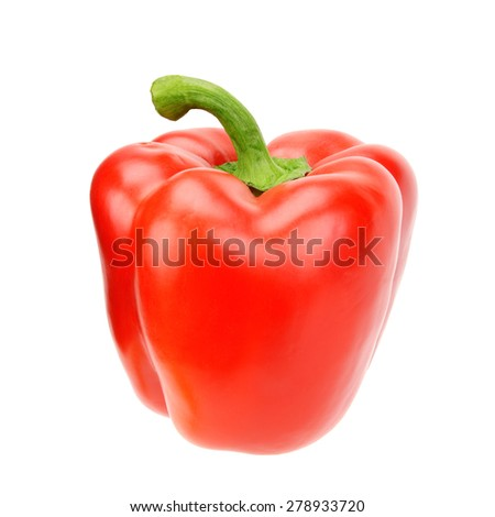 red bell pepper isolated on a white background - stock photo