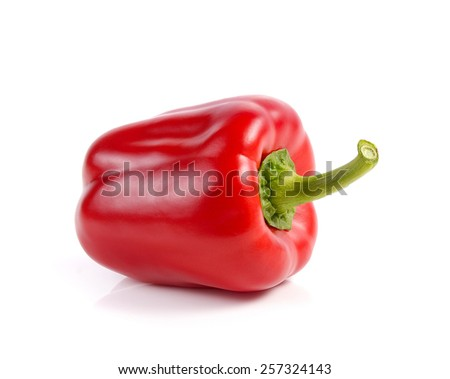 red bell pepper, paprika isolated on white background